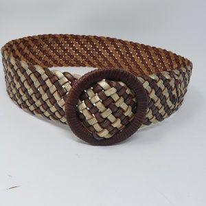 Lauren Ralph Lauren braided brown & metallic belt
